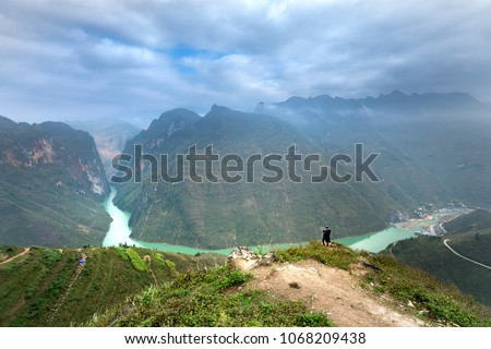 The panoramic view of Nho Que river flowing from China through the territory of Vietnam with the famous Ma Pi Leng pass in Ha Giang province, Viet Nam