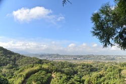 The panoramic view of the city from the mountaintop on one sunny day.