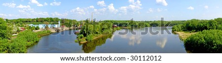 The panoramic view with Desna river near Chernigiv city
