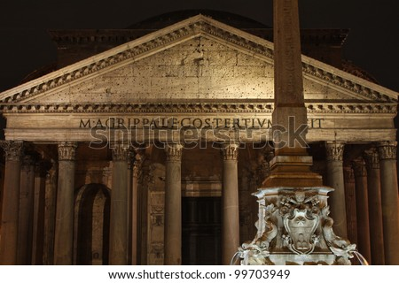 The Pantheon in Rome at night.