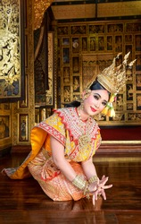 The pantomime (Khon) festival candles,Thai traditional dance of the Ramayana epic drama art,Thailand