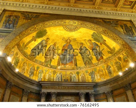 The Papal Basilica of St Paul Outside the Walls (San Paolo fuori le Mura), one of four churches that are the great ancient major basilicas or papal basilicas of Rome, Italy.