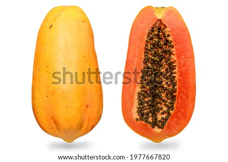 The papaya, papaw, or pawpaw is the plant Carica papaya, one of the 22 accepted species in the genus Carica of the family Caricaceae. Ripe Papaya fruit full with sliced.  Stock photo ©