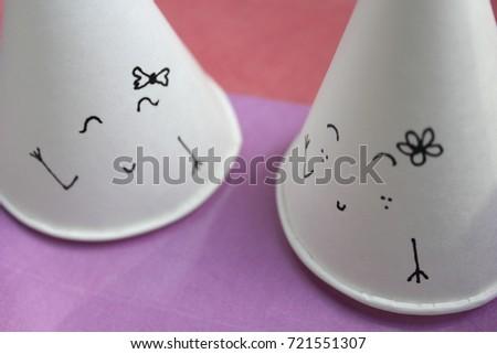 the paper cup say Hi  #721551307