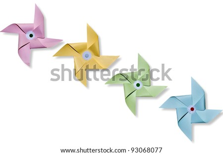 The Paper pinwheels isolated on white background