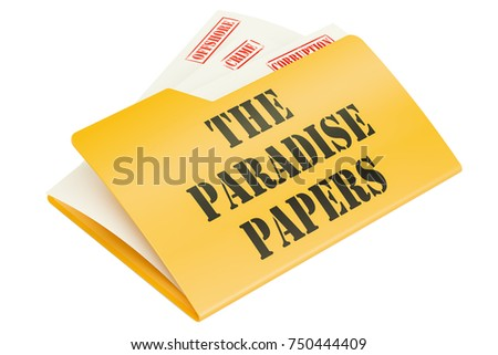 The Paradise Papers, leak of data concept. 3D rendering isolated on white background