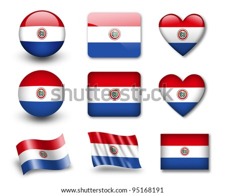The Paraguayan flag - set of icons and flags. glossy and matte on a white background.