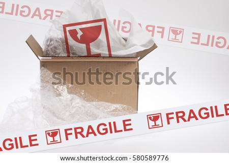 The parcel was opened to show the fragile symbol