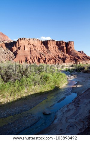 The Paria River merges with the Colorado near this remote spot, where rafters enter the water en route to the Grand Canyon