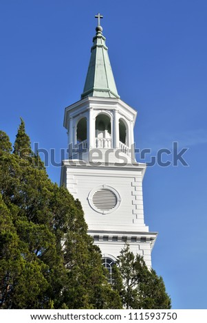 The Parish Church of St. Helena Episcopal Church Tower in Beaufort, South Carolina Vertical With Copy Space