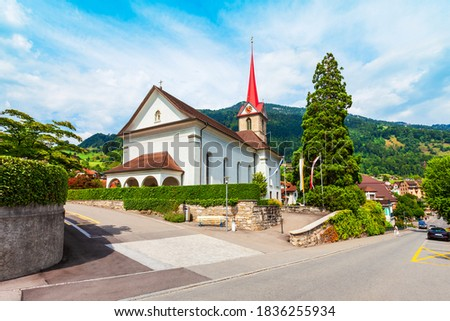 Photo of  The Parish of St. Mary Church in Weggis. Weggis is a town on the northern shore of Lake Lucerne in the canton of Luzern in Switzerland