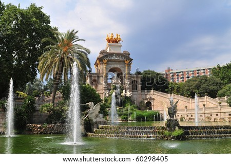 The park of the ciutadella with waterfall (designed by Josep Fontsere in 1875) is strongly connected with the history of Barcelona (Spain).