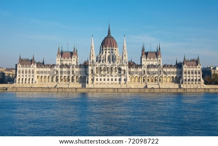 The parliament building of Hungary in Budapest