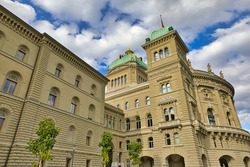 The Parliament building or Bundeshausthe houses the Swiss Federal Assembly and the Federal Council. Landmark of historical town Bern, Capital of Switzerland. Bern Canton.