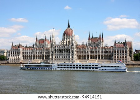The parliament building with ship in Budapest, Hungary