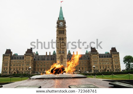 The Parliament of Canada and heroes flame