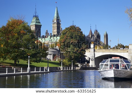 The Parliament of Canada and Rideau Canal - stock photo