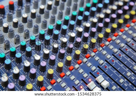 The part of Musical amplifier Sound amplifier or Music mixer with Knobs and Jack holes Picture of Musical amplifier Sound amplifier or Music mixer with Knobs, Jack holes and Mic connectors