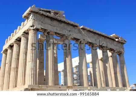 the Parthenon on Acropolis in the city of Athens
