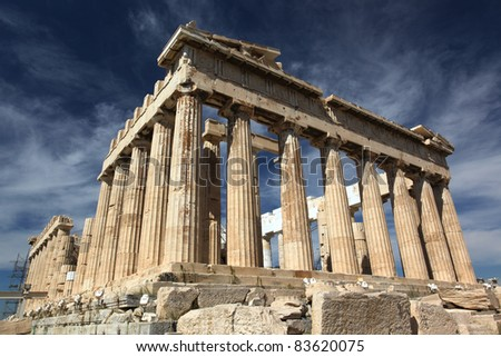 The Parthenon temple on Acropolis citadel, Greece