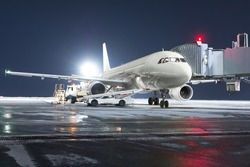 The passenger aircraft stands at the boarding bridge on night airport apron. The baggage compartment of the aircraft is open and the luggage is being loaded