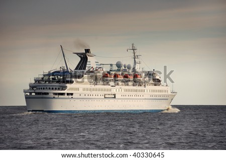 The passenger liner moves to port on Baltic sea.