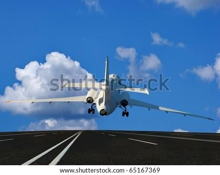 The passenger plane on the runway