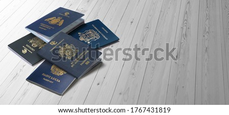 The passport of the Caribbean countries On wood plank