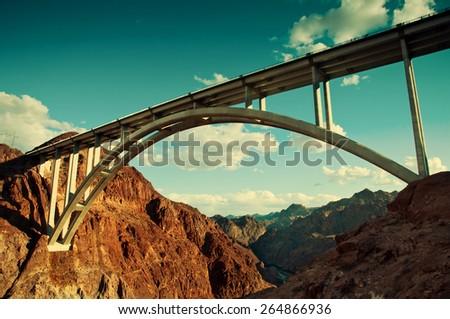 The Pat Tillman Bridge spanning the Hoover Dam gorge.