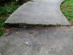 The path of the pedestal is damaged by the roots of the tree below which grows to cause the cement path to be uneven.