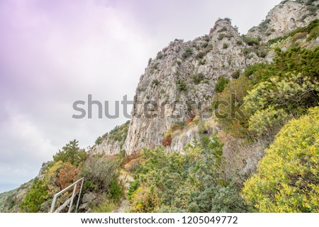 The path of the small fortresses in Anacapri on the island of Capri, Italy #1205049772