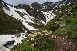 The path to the top. Trekking to the Dukka lakes. Caucasus. Russia