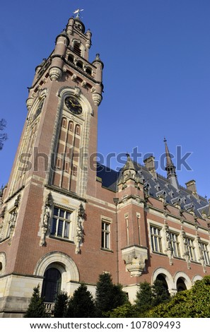 The Peace Palace - Dutch: Vredespaleis  the seat of international law because it houses the International Court of Justice is situated in The Hague, Netherlands