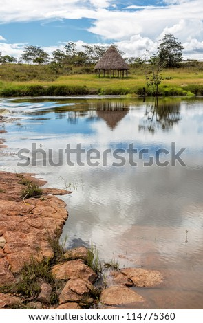 The peaceful panorama of the river to the huts above the falls in Canaima national park - Venezuela
