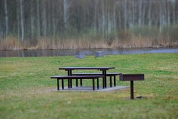 The peaceful picnic spot in early spring. Stock Photo
