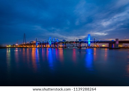 The Pearl Harbor Memorial Bridge at night in New Haven, Connecticut