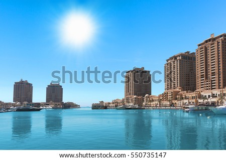 The Pearl is an artificial island with resident building #550735147