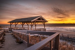 The Pearl Street Pavilion in Beach Haven, NJ at sunrise in late November
