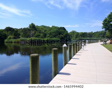 The Peconic River waterfront in downtown Riverhead, New York #1465994402