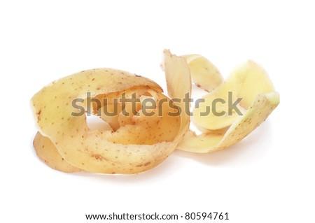 the peel of a potato on a white background