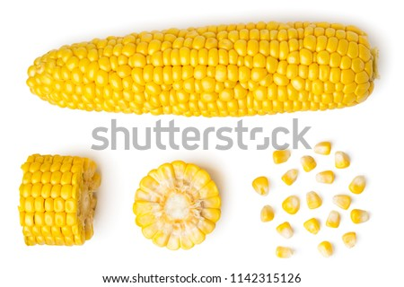 Photo of  The peeled ear of corn, a piece of and seeds on a white, isolated. The view from the top.