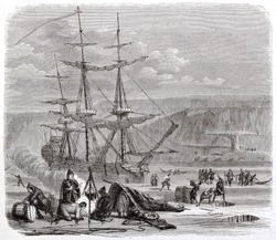 The Pelican, French vessel, in the Hudson bay. Created by Brugnot, published on Magasin Pittoresque, Paris, 1844