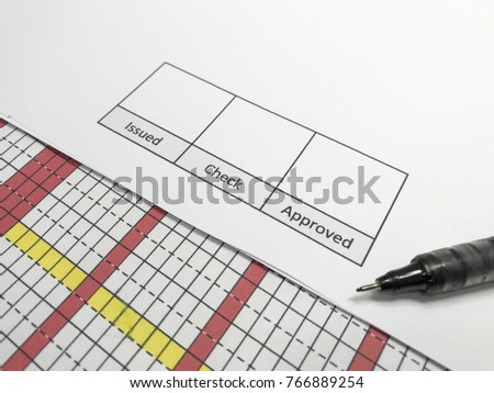 """The pen is on paper. There is space for signature. """"Issued, Check, Approved"""" Presentation of work ideas, signing documents, issuing documents, checking documents, approving documents. #766889254"""