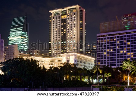 Stock Photo The Peninsula and Sheraton Luxury Hotels on the Kowloon waterfront, Tsimshatsui, Hong Kong, China, Asia