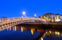 The Penny Ha'penny Bridge, and officially the Liffey Bridge, is a pedestrian bridge built in 1816 over the River Liffey in Dublin, Ireland.