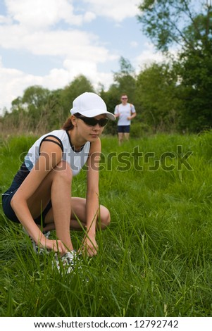 The people jogging cross country