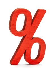 The percent symbol is red. Isolated on a white background.