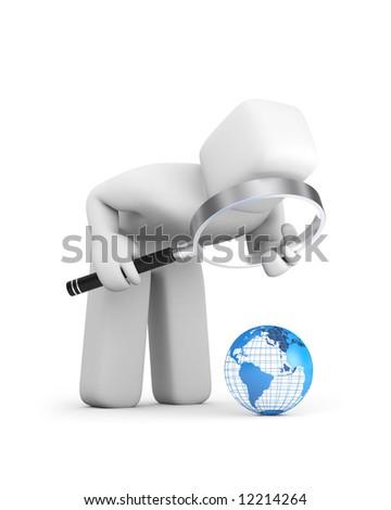 The person examines globe