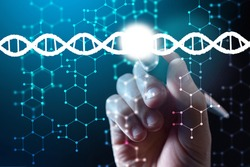 The person holds the pen to the drawn DNA helix. The scientist replaces part of the DNA molecule. Genetic engineering and the concept of gene manipulation. Biotechnologies for improving people lives.