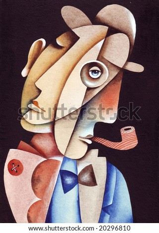 The person in a hat with a pipe. Illustration by Eugene Ivanov.